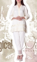 linen Embroidered Ready To Wear Kurta  Banded Neckline Embroidered Front 3/4 Sleeves Short Length Straight Hem  Plain Back
