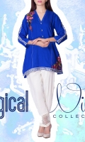 linen Embroidered Ready To Wear Kurta  Banded Neckline Embroidered Front 3/4 Sleeves Straight Hem Short Length Plain Back