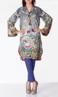 Linen Embroidered Ready To Wear Kurta  Banded Neckline Printed Front Printed full Sleeves Printed Back