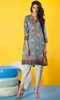 Lawn Ready To Wear Kurta  Banded Neckline Printed Front Printed Full Sleeves printed Back