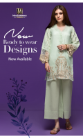 3 piece Lawn/Tissue Ready To Wear suit  Banded Neckline  Embroidered Front  Embroidered full Sleeves  Plain Full back  Plain Slip  Plain Trouser