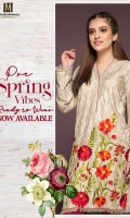 1 piece Cambric Ready To Wear Shirt Banded Neckline Embroidered Front Embroidered Full Sleeves Plain Full back