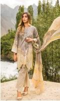 Cotton Satin Gold Print Front Embroidery Shiffon Dupatta Digital Printed Trouser