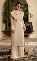 'Rumi's Whisper' is a perfectly handcrafted Asymmetrical ensemble with a flattering bolero neckline made from flamboyant criss-cross organza and an ornate tilla work and flamboyant embroidery. This ensemble is accompanied by a flared trouser made from crushed chiffon to give the dress the complete NS look.  Fabric: 100% Pure Cotton Masuri made to the highest standards of quality synonymous to Nilofer Shahid