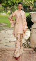 A lovely shade of pastel pink serves as a canvas to highlight the gorgeous ornamental floral patterns giving prominence to the Ensemble. Accompanied with a captivating pleated slip which has ethereal ruffles pleated sleeves. Paired with vivacious reversible bootleg trousers creating the perfect NS look.  Fabric: 100% pure Tussar Silk made to the highest standards of quality synonymous to Nilofer Shahid.