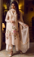A pastel pink self cotton net shirt with affluent floral embroidery, sequins and flamboyant 3-D work adorned with beautiful lace sleeves that gives prominence to the ensmble.  Complete your look with gorgeous US self silk pants and vivacious cotton net dupatta with luxurious beaded trim and intricate fringes on the borders.  Fabric: Premium Self-cotton net made to the highest standards of quality synonymous to Nilofer Shahid.