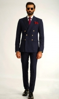 Classic blue double breasted two piece suit Double breasted two buttons Unique golden monogram buttons Double side vents Broad pointed lapel