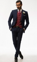 Midnight two piece suit Light weight tropical fabric Broad Pointed lapel Two buttons Two side wants Slim Fit