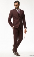 Deep maroon two piece suit Tropical suiting fabric Pointed lapel Two buttons Two side Vents Slim fit