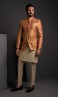 Rust Silk Embosed P/Coat With Cotton Silk K/P