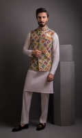 Multi Color Indian Embosed W/Coat With Cotton Silk K/P