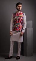 Multi Color Indian Embosed Waist Coat With Cotton Silk Kurta Pujama