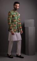Multi Net Embosed Prince Coat With Cotton Silk Kurta Pajama
