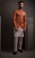 Orange Self Jamawar Prince Coat With Cotton Silk Kurta pajama