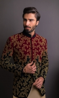 Dual Color Velvet Hand Embroided P/Coat With Cotton Silk K/P