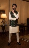 Jamawar Hand Embroided Waist Coat with Cotton Silk Kurta Pajama, Pocket Square
