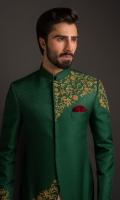 Emerald GreenPure Self Jamawar with Hand Embroided work  Cotton Silk Cream Kurta Pajama