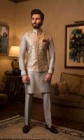 Paper Net Waistcoat with Cotton silk Kurta Pajama, Pocket Square