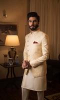 Beige Pure Indian Jamawar Prince Coat with Cotton Silk Kurta Pajama, Pocket Square