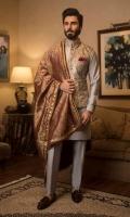 Paper Net Waistcoat with Cotton silk Kurta Pajama, Pocket Square,Jamawar Shawl