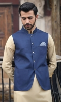 100% Cotton blue waist coat.