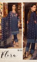 Lawn Embroidered Chikankari Chiffon Embroidered Dupatta Plain Trouser