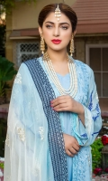 Front Embroidered on Chiffon Back Embroidered on Chiffon Selves Embroidered on Chiffon Embroidered Chiffon Dupatta Dyed Trouser