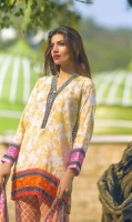 3 Piece Printed Lawn Suit With Printed Shirt Printed Sleeves Printed Silk Dupatta Embroidered Neckline Embroidered Daman Border Printed Trouse