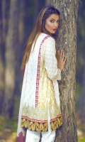 3 Piece Embroidered Lawn Suit With Embroidered Shirt Block Printed Back Printed Sleeves Printed Chiffon Dupatta Embroidered Daman Border Embroidered Lace Self Printed Trouser