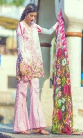 3 Piece Printed Lawn Suit With Printed Shirt Printed Sleeves Printed Silk Dupatta Embroidered Neckline Embroidered Sleeves Bunch Printed Trouser