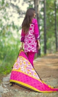 3 Piece Printed Lawn Suit With Printed Shirt Printed Sleeves Printed Chiffon Dupatta Embroidered Neckline Embroidered Daman Border Printed Trouser