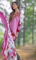 3 Piece Printed Lawn Suit With Printed Shirt Printed Sleeves Printed Silk Dupatta Embroidered Neckline Printed Trouser