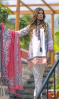 3 Piece Printed Lawn Suit With Printed Shirt Printed Sleeves Printed Chiffon Dupatta Embroidered Neckline Embroidered Border Printed Trouser