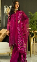 Organza Embroidered Shirt 3 Mtr Net Embroidered Dupatta 2.5 Mtr Raw Silk Trouser 2.5 Mtr Inner 2 Yard 1 Pcs Neck Embroidered Lace
