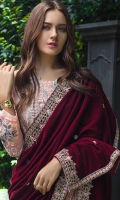 Shirt: - Luxury Embroidered Charmuse Silk Dupatta: - Fancy Jacquard and Embroidered Velvet Shawls Trouser: - Dyed Charmuse Silk