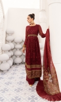 Embroidered Bamberg chiffon front  Embroidered grip neckline Patti  Embroidered grip front/back borders  Dyed plain Bamberg chiffon back  Embroidered Bamberg chiffon sleeves  Embroidered grip sleeves borders  Embroidered organza dupatta borders  Dyed grip trousers