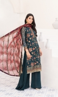 Embroidered Bamberg chiffon front  Embroidered organza front/back borders  Dyed plain Bamberg chiffon back  Embroidered Bamberg chiffon sleeves  Embroidered organza patch for sleeves  Embroidered grip sleeves borders  Embroidered net dupatta  Embroidered grip borders for dupatta  Dyed grip trousers