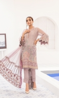 Embroidered organza front  Embroidered neckline patti  Plain organza back  Embroidered organza sleeves  Embroidered organza sleeves patch  Embroidered grip borders front and back  Embroidered organza dupatta borders  Plain organza dupatta  Dyed grip trousers