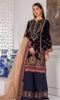 Embroidered velvet front Embroidered grip front/back border Plain velvet back Embroidered velvet sleeves Embroidered sleeve grip border Plain dyed zari net dupatta Embroidered grip dupatta borders Embroidered organza trouser border Dyed plain grip trouser