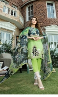 Digital Printed Lawn Shirt With full Embroidered Front Digital Chiffon Dupatta Trousers Dyed Cambric