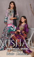 • Marina KHADDAR Embroidered Shirts  • with Printed Wool Shawls  • Printed Embroidered Trousers