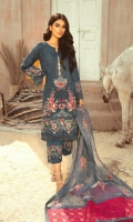 EMBROIDERED LAWN FRONT BACK AND SLEEEVES EMBRIODERED FRONT BACK DAMAN PATCH EMBRIODERED NET AND ORGANAZA DUPPATA COTTON TROUSER EMBRIODERED TROUSER PATCH