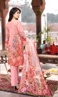 DIGITAL PRINTED EMBROIDERED FRONT DIGITAL PRINTED BACK AND SEELVES ORGANZA EMBROIDERED NECKLINE ORGANZA EMBROIDERED FRONT BORDER ORGANZA EMBROIDERED SEELVES BORDER ORGANZA EMBROIDERED TROUSER PATCH DIGITAL PRINTED CHIFFON DUPATTA DYED TROUSER