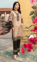 DIGITAL PRINTED EMBROIDERED FRONT DIGITAL PRINTED BACK AND SEELVES ORGANZA EMBROIDERED NECKLINE ORGANZA EMBROIDERED FRONT BORDER ORGANZA EMBROIDERED SEELVES BORDER ORGANZA EMBROIDERED TROUSER BORDER DIGITAL PRINTED CHIFFON DUPATTA DYED TROUSER