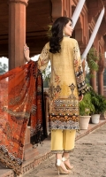 DIGITAL PRINTED EMBROIDERED FRONT DIGITAL PRINTED BACK AND SEELVES ORGANZA EMBROIDERED NECK PATTI ORGANZA EMBROIDERED FRONT BORDER ORGANZA EMBROIDERED SEELVES PATTI ORGANZA EMBROIDERED TROUSER PATTI DIGITAL PRINTED CHIFFON DUPATTA DYED TROUSER
