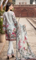 DIGITAL PRINTED EMBROIDERED FRONT DIGITAL PRINTED BACK AND SEELVES ORGANZA EMBROIDERED NECKLINE ORGANZA EMBROIDERED FRONT BORDER ORGANZA EMBROIDERED SEELVES BORDERS ORGANZA EMBROIDERED TROUSER PATTI DIGITAL PRINTED CHIFFON DUPATTA DYED TROUSER