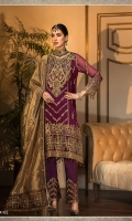 CHIFFON EMBROIDERED FRONT CHIFFON EMBROIDERED BACK CHIFFON EMBROIDERED SLEEVES EMBROIDERED NECKLINE EMBROIDERED BORDERS FOR FRONT EMBROIDERED BORDER FOR BACK EMBROIDERED BORDER FOR SLEEVES EMBROIDERED TISSUE DUPATTA EMBROIDERED PALLU EMBROIDERED BORDER FOR TROUSER DYED RAW SILK TROUSER