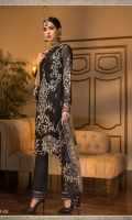 CHIFFON EMBROIDERED FRONT CHIFFON EMBROIDERED BACK PLAIN CHIFFON SLEEVES EMBROIDERED MOTIF FOR SLEEVES EMBROIDERED BORDER FOR FRONT EMBROIDERED BORDER FOR BACK EMBROIDERED BORDER FOR TROUSER DYED NET DUPATTA EMBROIDERED PALLU EMBROIDERED PATI FOR DUPATTA DYED RAW SILK TROUSER