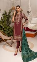 Shirt: Pearl Printed Cambric (3 meters) Dupatta: Pearl Printed Cambric (2.5 meters) Trouser: Dyed Cotton (2.5 meters)