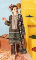 Shirt: Chunri Printed Lawn (3 meters) Dupatta: Chunri Printed Lawn (2.5 meters) Trouser: Dyed Cambric (2.5 meters)